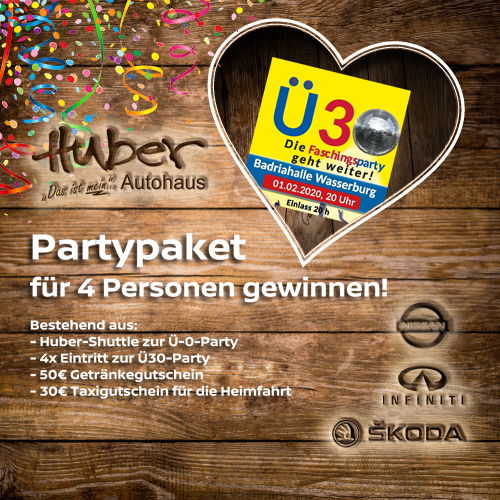 Ü30-Faschingsparty am 01.02.2020 in Wasserburg!